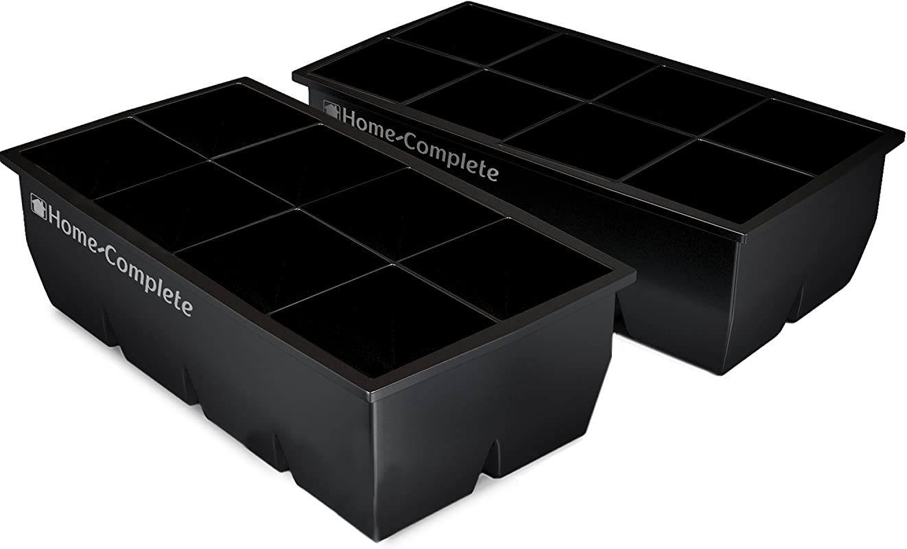 Home Complete HC 5100 2 Large Ice Molds Silicone Trays Makes 8 2 X 2 Big Cubes BPA Free Flexible Chill Water Lemonade Cocktails And More Black Pack Of 2