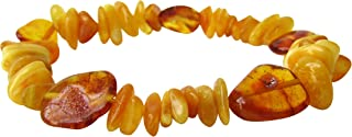 Amber Stretch Bracelet Anklet For Women Men ABB26 Mix Butterscotch and Honey Colour 19cm Polished Chips Beads By Amber Corner