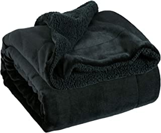 Bedsure Sherpa Fleece Blanket Throw Size Black Plush Throw Blanket Fuzzy Soft Blanket Microfiber