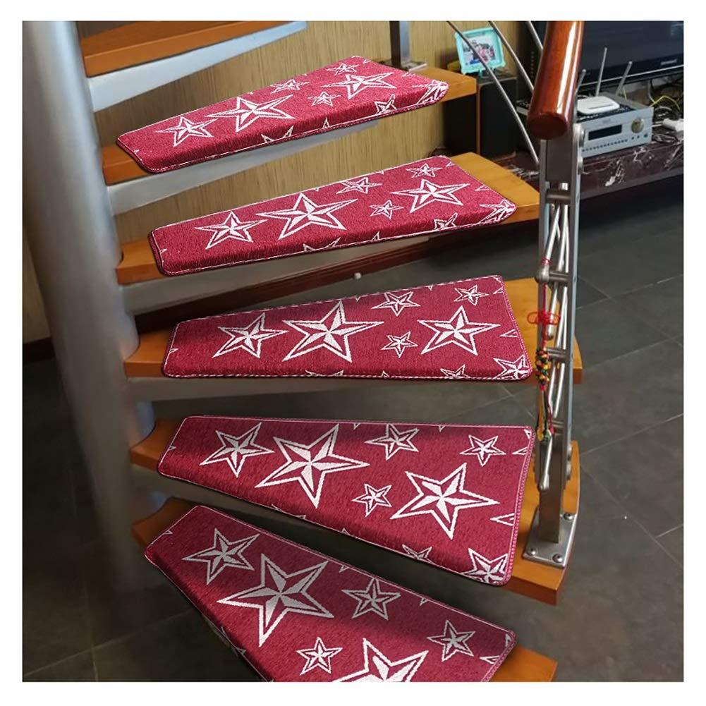 Alfombra Tapetes de Escalera Interior 15pcs escalera de caracol banda de rodadura Mat Giro a la izquierda de la escalera de la alfombra, antideslizante Paso cojín interior manta de protección, Pegar r: