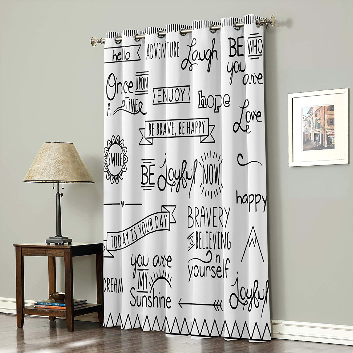 Blackout Curtain for Bedroom Inspirational Positive 予約 Heal Energy テレビで話題
