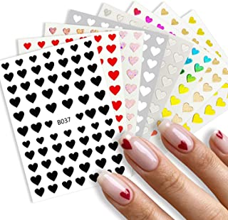 8 Sheets Heart Love Nail Art Stickers Decals 3D Self-Adhesive Nail Art Stickers Heart Love Nail Art Decorations Stars Deca...