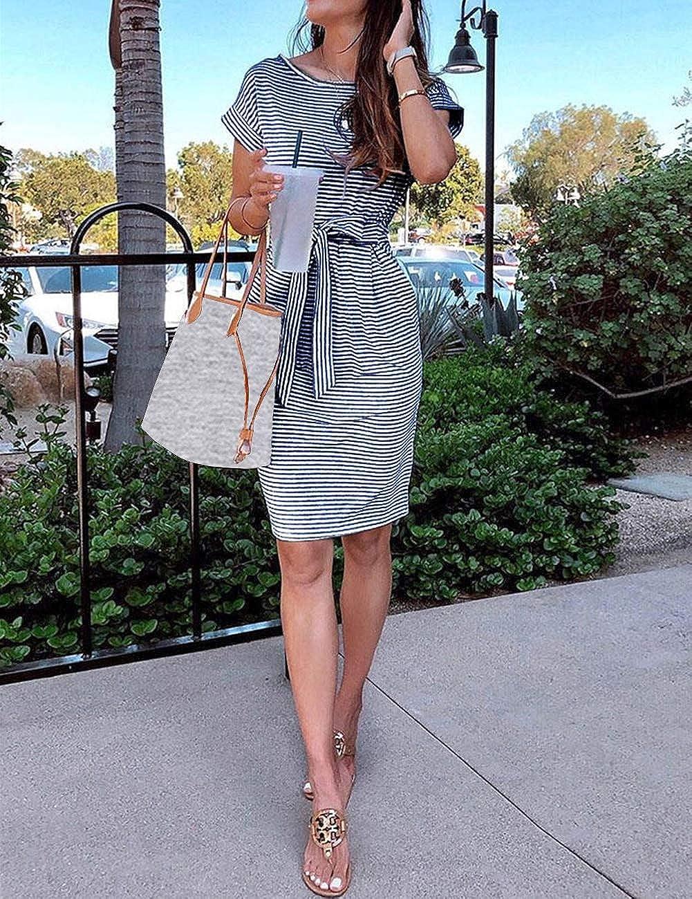 MEROKEETY Women's Summer Striped Short Sleeve T Shirt Dress Casual Tie Waist Midi Dress