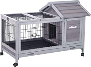 """Aivituvin Wooden Rabbit Hutch with Removable Wire Floor Grid 40.4"""" L x 23.6"""" W x 28.3"""" H, Bunny Cage with Deeper Leakproof..."""