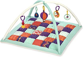 B. toys by Battat – Wonders Above Activity Quilt – Baby Play Mat Gym with 5 Hanging Toys for Newborns