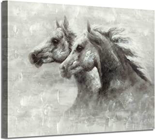 Abstract Horse Canvas Wall Art: Black & White Animals Artwork Picture Painting for Wall (36'' x 24'' x 1 Panel)