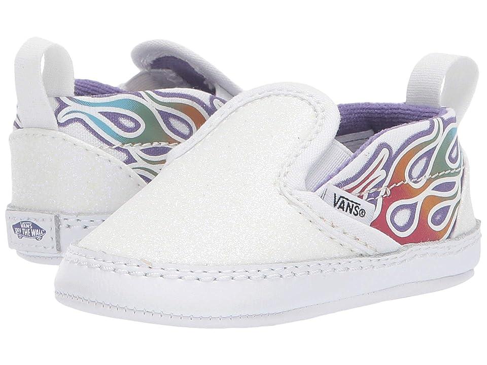 Vans Kids Slip-On V Crib (Infant/Toddler) ((Sparkle Flame) Rainbow/True White) Girls Shoes