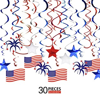 Ediff 4th of July Patriotic Party Decorations, Patriotic Swirl Streamers (30 PCS) with American Flag, Red, White & Blue Stars, Patriotic Party Supplies for Independence Day