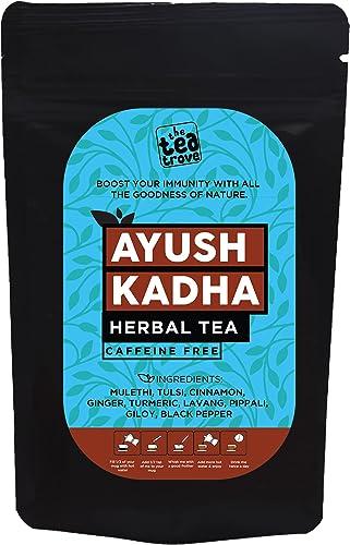 The Tea Trove Ayush Kwath Kadha Powder for Immunity Booster Herbal Tea Kadha Enjoy as Hot Kadha Tea or as Garam Masala Seasoning in Food or to Make Chyawanprash 100g 65 Cups
