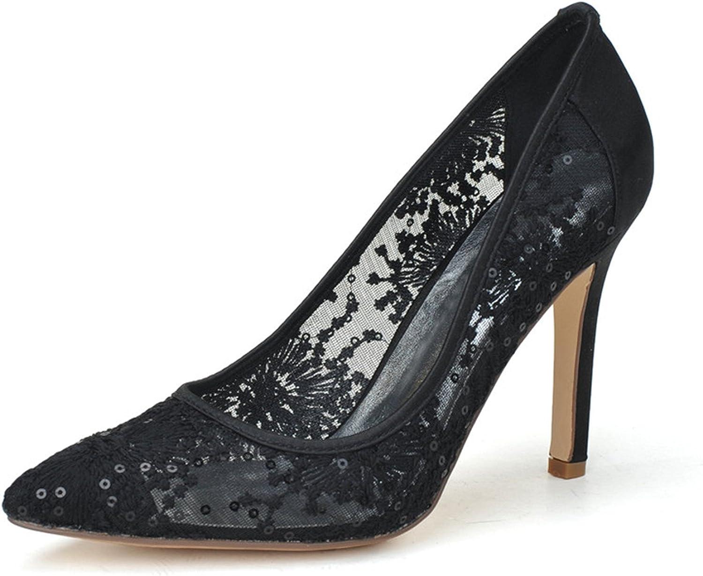 Fanciest Women's Pointed Toe Pumps Heels Sandals Lace Wedding Bridal shoes White 0608-10
