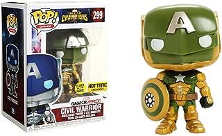 Civil Warrior [Glow-in-Dark] (Hot Topic Exclusive): Funko POP! Marvel x Marvel - Contest of Champions Vinyl Figure + 1 Official Marvel Trading Card Bundle [#299]