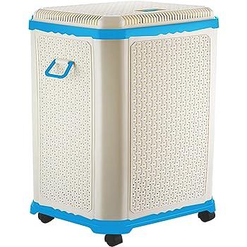 Primeway® Setag XL Multipurpose Laundry Hamper Utility Storage Basket with Lid on 4 wheels, 50 Litres, Light Blue
