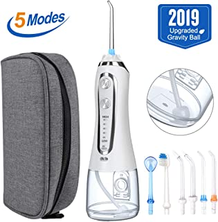 [2019]HAUEA 5 Modes Cordless Dental Water Flosser with Gravity Ball Design 6 Jet Nozzles and Handy Cosmetic Bag (white)