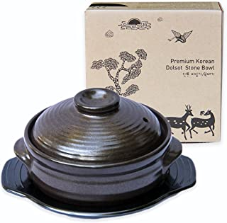 Crazy Korean Cooking Korean Stone Bowl (Dolsot), Sizzling Hot Pot for Bibimbap and Soup - Premium Ceramic (Large with Lid)