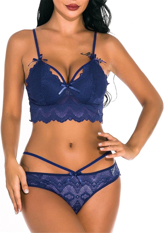 FABIURT Lingerie for Women,Sexy Lingerie for Women Plus Size Two-Piece Lingerie Bra and Panty Lace Babydoll Sleepwear