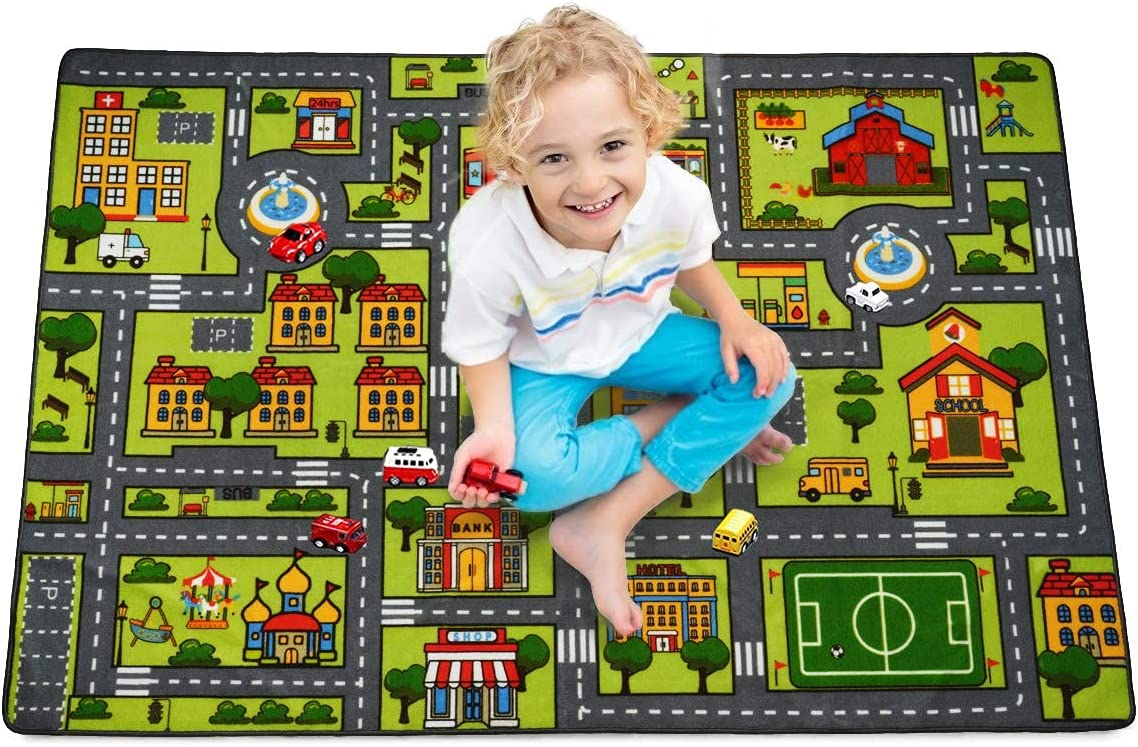 Zareas Kid's Car Carpet Playmat Rug for Playroom, Children's Educational Cute City Traffic Road Map Fun Carpet, Non-Slip Play Rug Road Trip Game for Boys Girls Bedroom Living Room 4x5.9 Feet