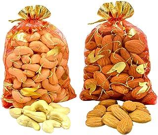 Spacetouch Hele amandelen met cashewnoten in decoratieve zakje Pack Gift Pack Droge fruitmoeren Badam 450 gram met 450 gra...