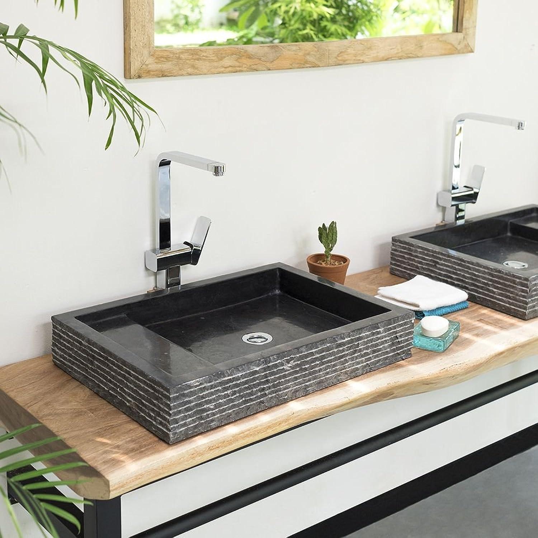 Wohnfreuden Marmor Waschbecken 60 cm  recht-eckig anthrazit  Steinwaschbecken oder Naturstein-Waschbecken für Bad Gste WC  inkl. techn. Zeichnung  schnell