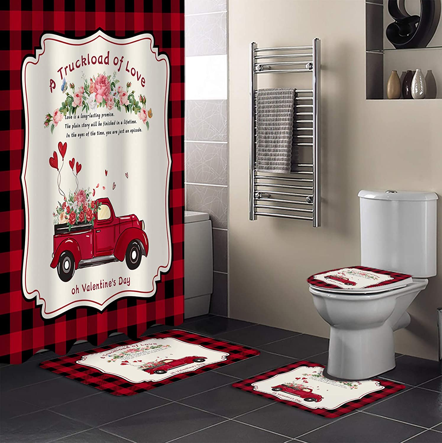 4 Piece Shower Curtain Sets Happy Valentine's Day Of Truckload A Same day Spasm price shipping