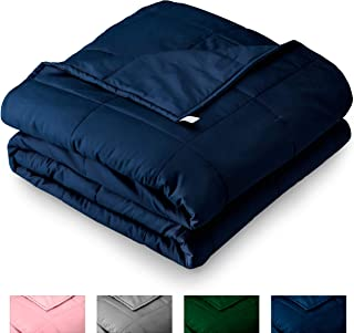 Bare Home Weighted Blanket for Adults 17lb - Standard Size - All-Natural 100% Cotton - Premium Heavy Blanket Nontoxic Glass Beads (Dark Blue, 60