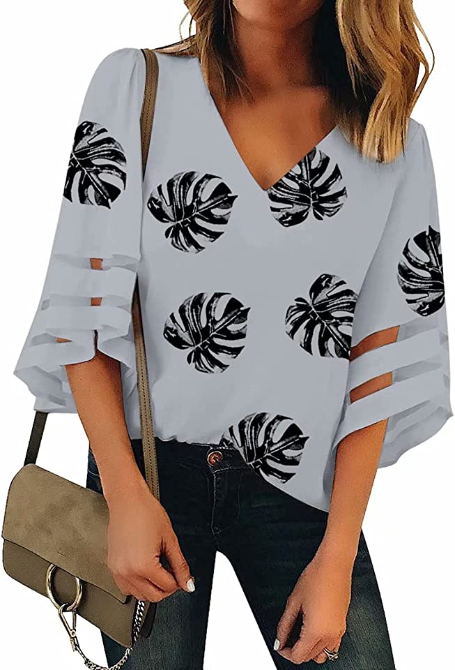 Women's V-Neck 3/4 Sleeve Shirt Mesh Panel Blouse Loose Solid Color Button Front Tops Blouse