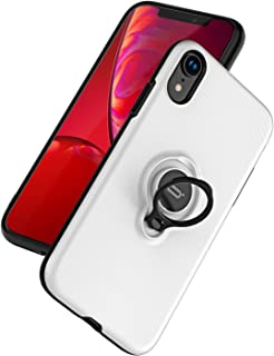 ICONFLANG iPhone XR Case, Ultra-Slim iPhone XR Case Ring Holder Stand Compatible Magnetic Car Mount Cover Case Apple iPhone XR (2018) 6.1 inch - White