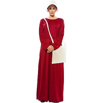 EUROCARNAVALES Disfraz de Vestido de Criada Granate para Mujer ...