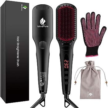 Miropure Cepillo alisador de cabello con calentamiento MCH con guante resistente al calor y funcion de bloqueo de temperatura, 16 configuraciones de calentamiento, doble voltaje: Amazon.es: Belleza