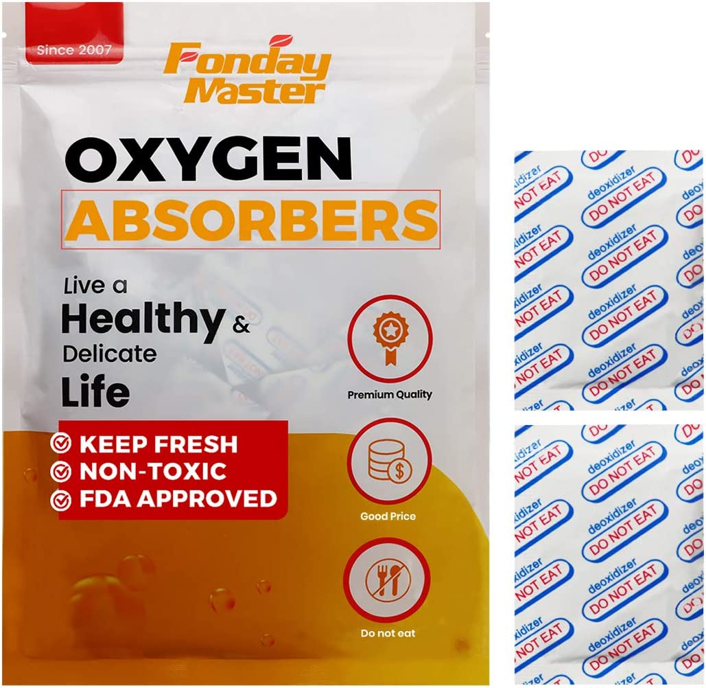 Fonday Food Grade Oxygen Absorbers Packets for Long Term Food Storage & Home Made Jerky, Keep Food Fresh, Anti Oxygen Absorbing Packets for Oats Flour and Freeze Dried Foods (200CC x 30Pack)