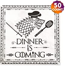 Luncheon Napkins Cocktail Dinner is Coming- Disposable Paper Napkin, GOT Print Wedding Decoration, Birthday Party/ 6.5-inch, 50Pack