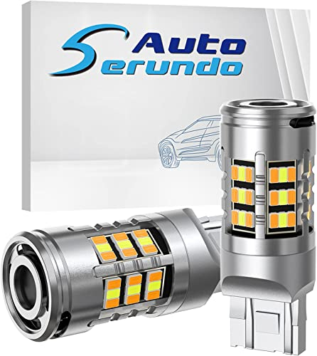 Serundo Auto 7440 Turn Signal Light 7443 7444 T20 CANBUS Anti Hyper Flash Switchback Dual Color for Amber Yellow Turn Signal Light, White Daytime Running Parking Light, Built-in Resistors (Pack of 2)