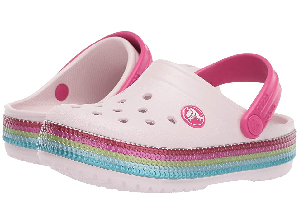 Crocs Kids Crocband Sequin Band Clog (Toddler/Little Kid) (Barely Pink) Kids Shoes