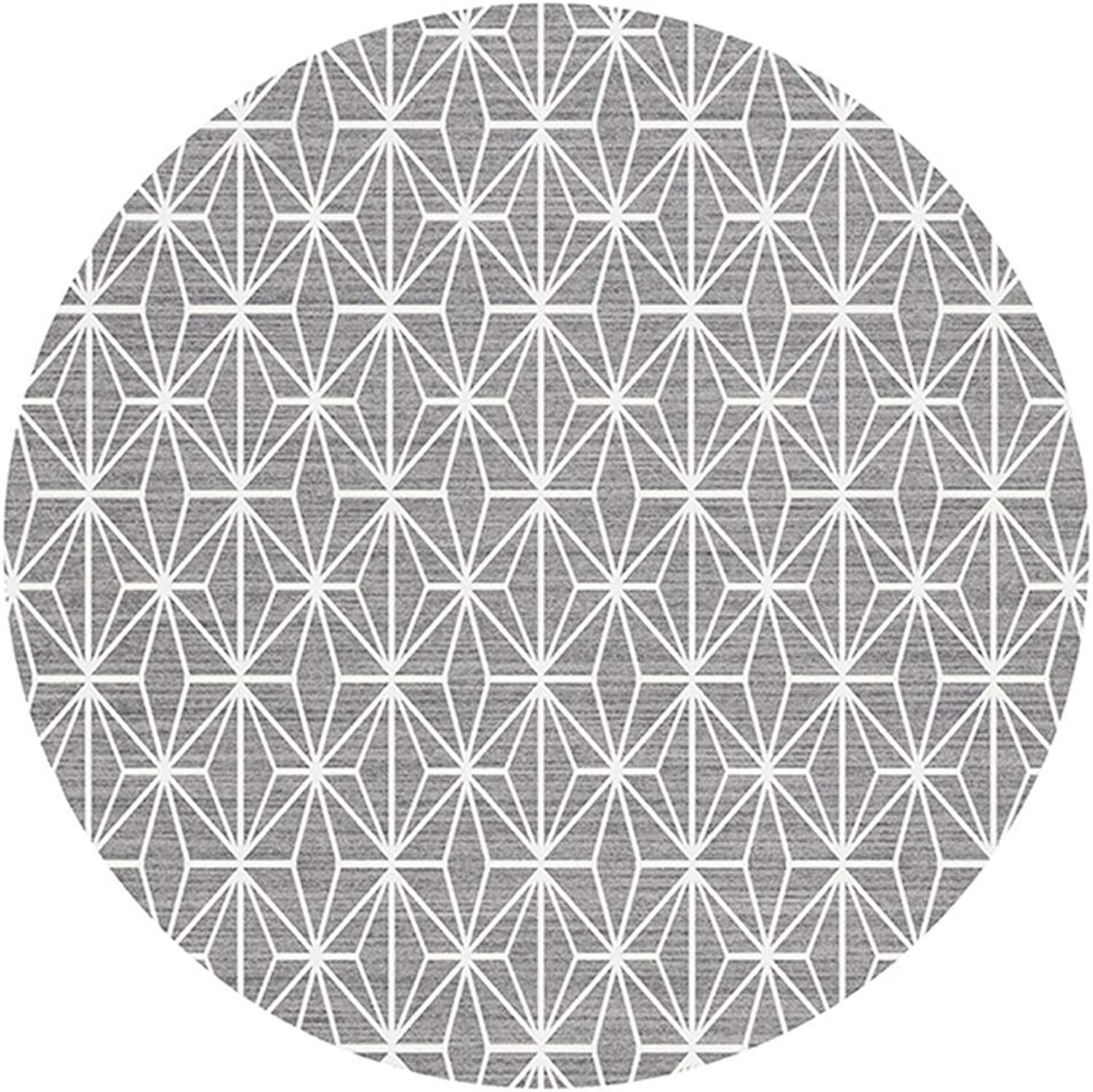 Lvdijidian Nordic Modern Style Round Carpet European Minimalist Living Room Bedroom Hanging Basket Swivel Chair Carpet Earth Weave Light Grey Doormat of Decoration (Size   Diameter-80CM)