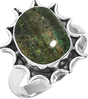 Natural Honduran Black Matrix Opal Gemstone Ring Solid 925 Sterling Silver Unique Jewelry Size 9.5