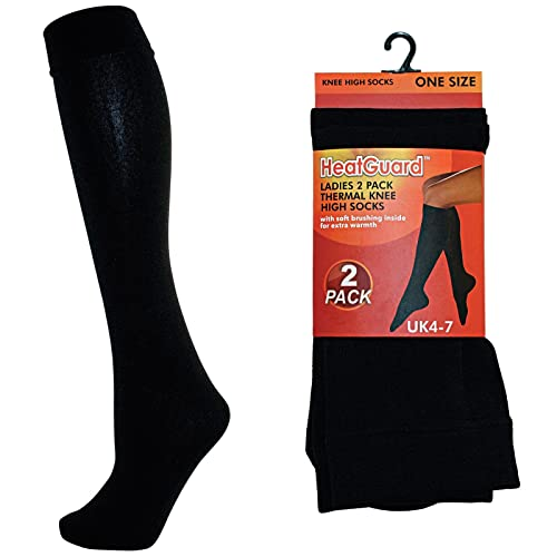 0eee0e080e6 Ladies 1 or 2 Pack Black Thermal Knee High Socks Tights Leg Warmers Winter  140D Thick