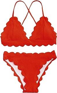 Women's Classic Flounced Scalloped Trim Push-up Padded Vintage Bikini Bathing Suit Swimsuit Set