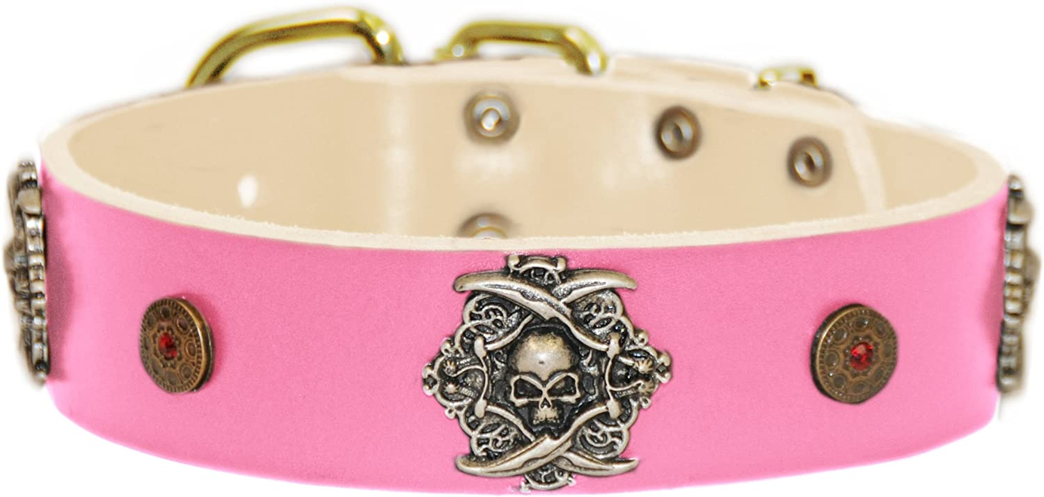Dean and Tyler  THE PIRATE  Leather Dog Collar with Solid Brass Buckle  Pink  Size 46cm by 4cm Width. Fits Neck Size 16 Inches to 20 Inches.