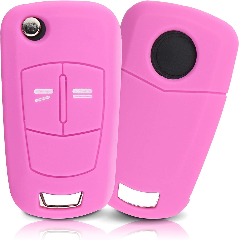 Tapa de la Llave Hecha de Silicona Premium Compatible con Opel, Funda Protectora para Llaves de Coche Cubierta para el Tipo de Clave 2BKB - Pink