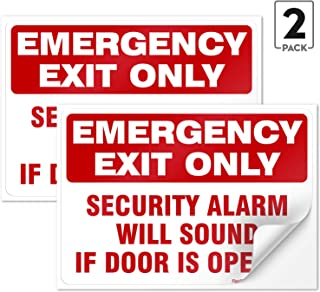 (2 Pack) Emergency Exit Only Sign, Self Adhesive 7 X 10