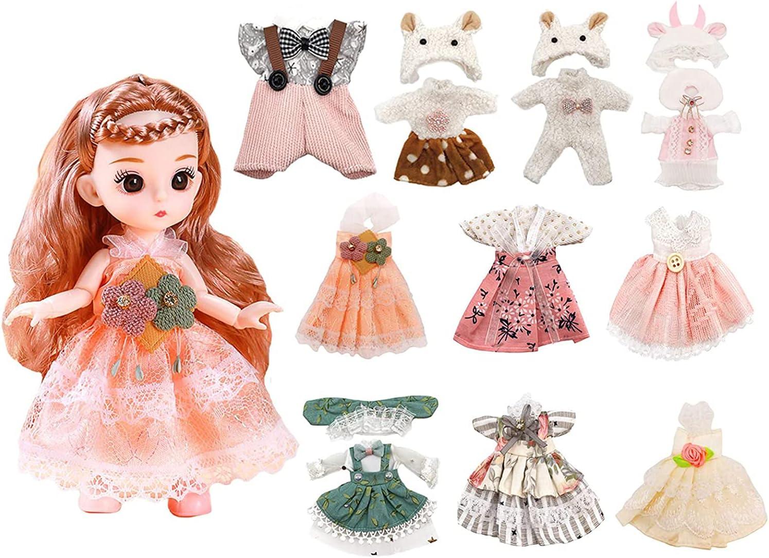 Lembani 10 unisex Sets Mini Princess Doll Dolls Price reduction 6 Clothes inch for Girl