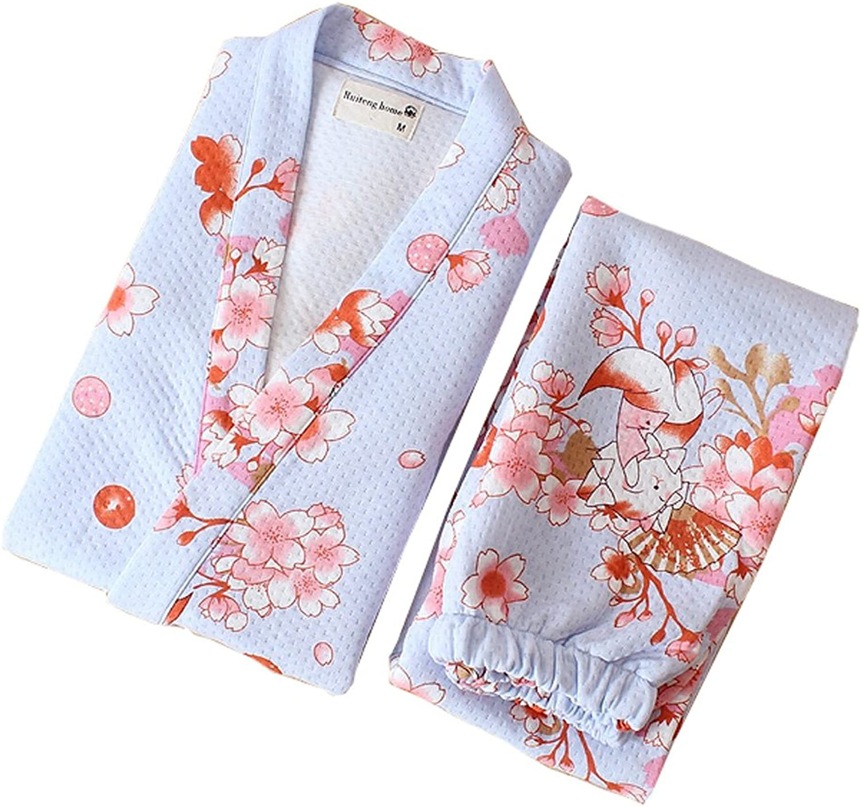 Frauen japanischen Stil Robes Robes Robes Baumwolle Kimono Pyjamas Anzug Dressing Kleid Set-Blau Cat B075PM5RBL ffd9ac