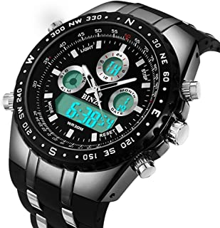 Men Watches Big Face Sports Wrist Watch for Men Waterproof Military Analog Digital Watches with Black Silicone Band Dial 2 inches