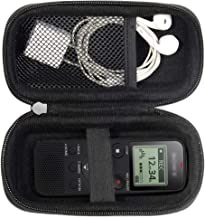 Digital Voice Recorder Case for Sony ICDPX370, PX440, PX470, BX140; Olympus WS-852, WS-853; KIMAFUN 2.4G and XIAOKOA 2.4G Wireless Lavalier Microphone, mesh pocket in the lid, detachable wrist strap