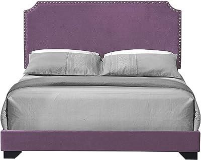 SSLine Elegant Purple Fabric Upholstered Bed Frame Queen Size Platform Bed with Headboard & Wood Slat Modern Chic Queen Panel Bed Frame for Girls Women Bedroom