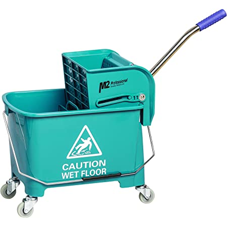 Metro 24Qt Commercial Mop Bucket with Wringer Combo Rolling Cleaning Cart Side Press