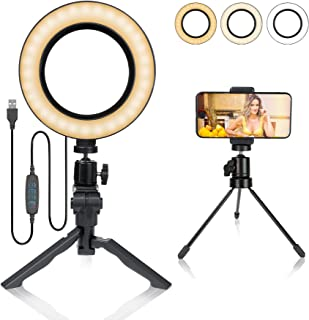 6 Inch Ring Light with Stand and Cell Phone Holder,Dimmable Tabletop LED Ring Light for YouTube Video and Live Makeup/Photography