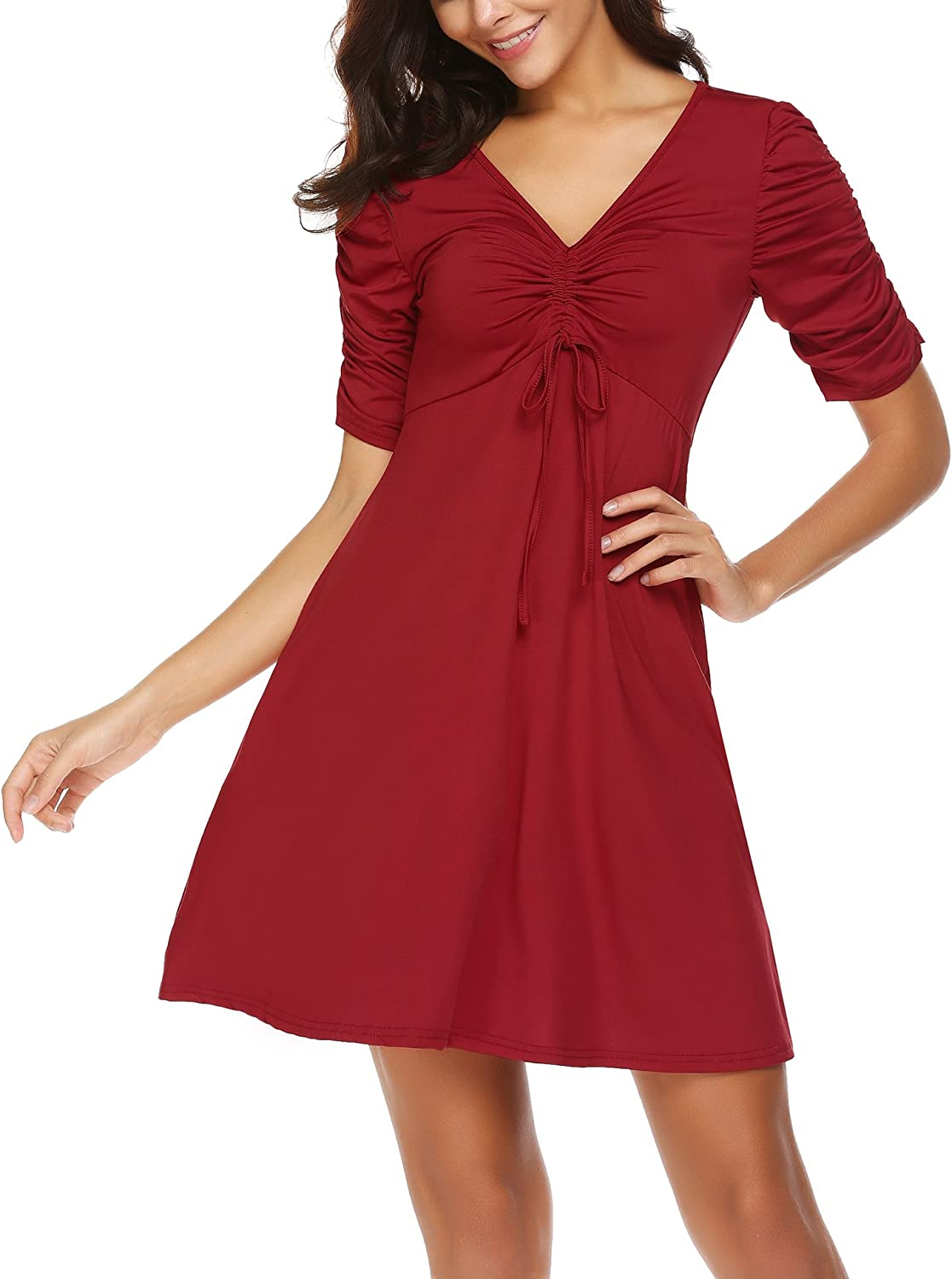 Hersife Womens V Neck Ruched Sleeves Short Dress Solid Flare Aline Casual Dress