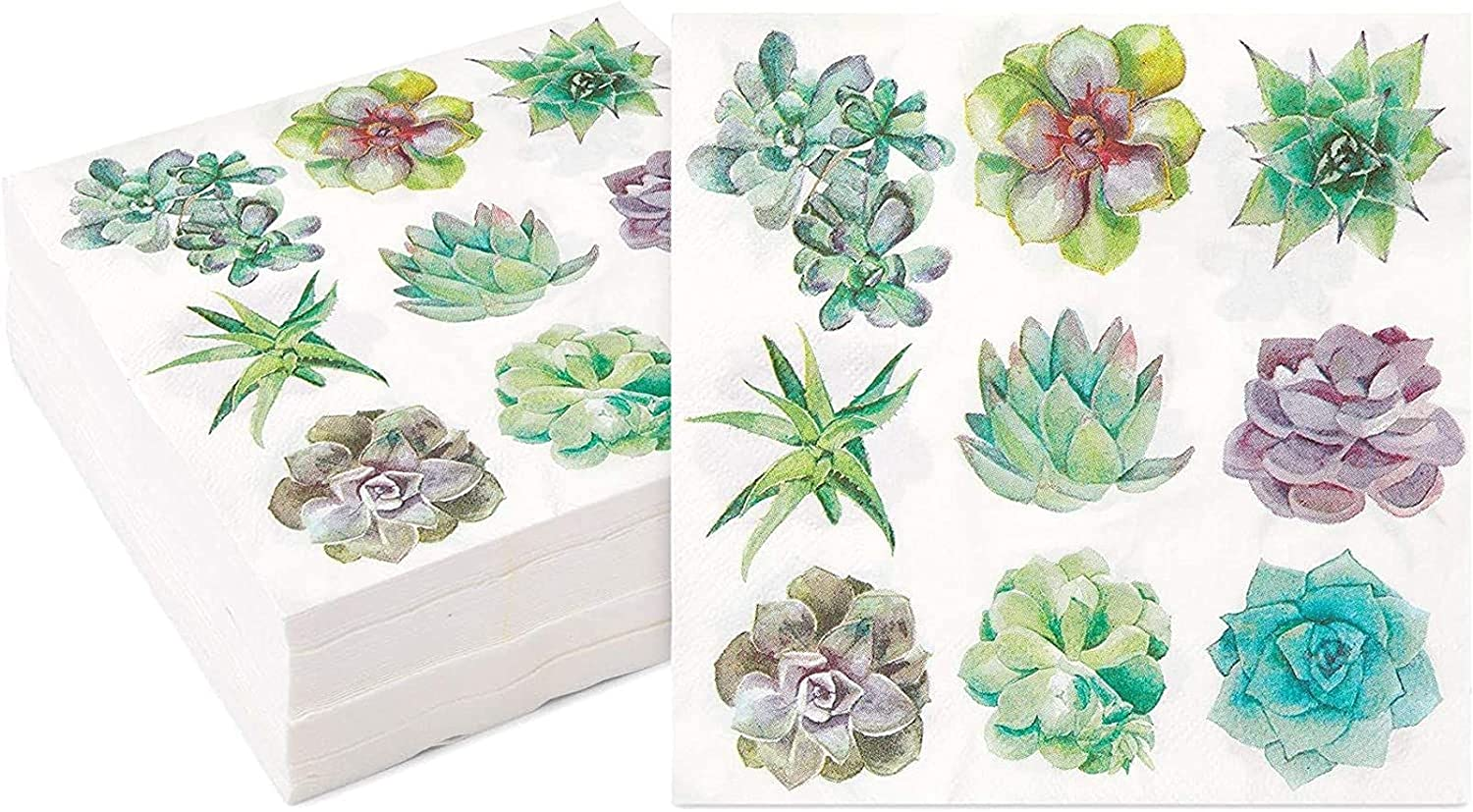 Succulent Paper Napkins for Birthday In Party Max OFFicial mail order 74% OFF 100 6.5 Pack