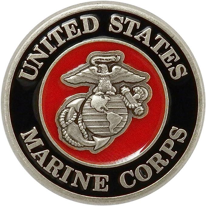 USMC MARINE CORPS US MARINES CUTOUT SCRIPT LAPEL PIN 1.75 INCHES SILVER COLORED