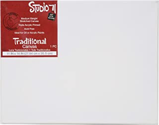 """Darice Studio 71 Medium Weight Traditional Stretched 11"""" x 14 Oil Paints, Triple Acrylic Primed Wood Frame Canvas, Pack of 1, Multicolor"""
